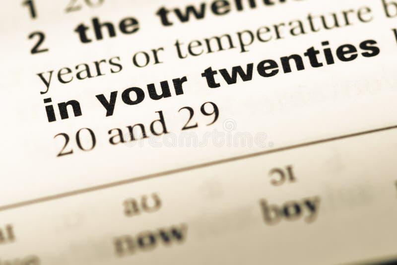 关闭与词的老英国字典页在您的二十内 免版税库存照片