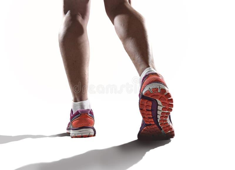关闭与跑鞋和体育妇女跑步的女性强的运动腿的脚 免版税库存图片
