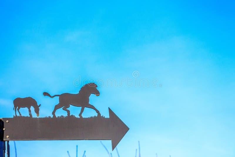 关闭与马剪影的箭头在动物园里 库存照片