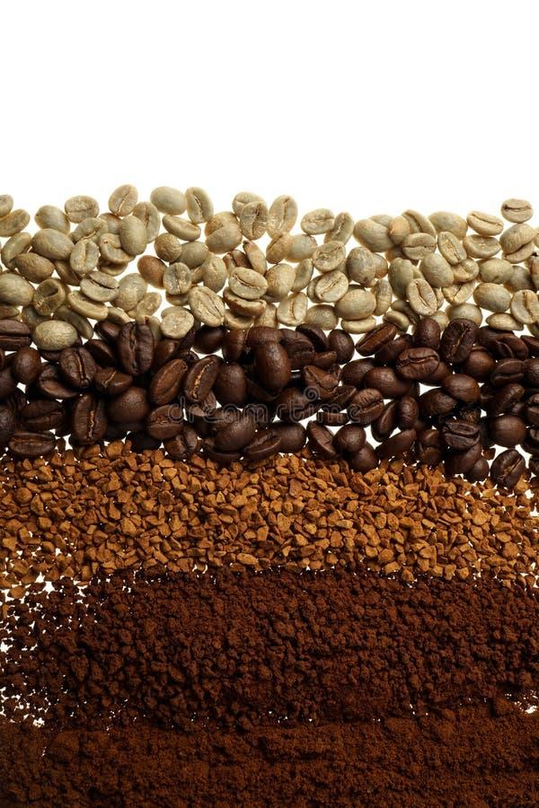 关闭五个不同咖啡类型-咖啡背景 免版税库存图片
