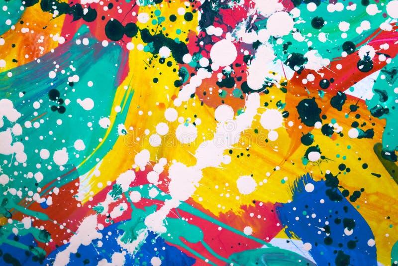 关闭五颜六色的完全抽象绘画 免版税库存照片