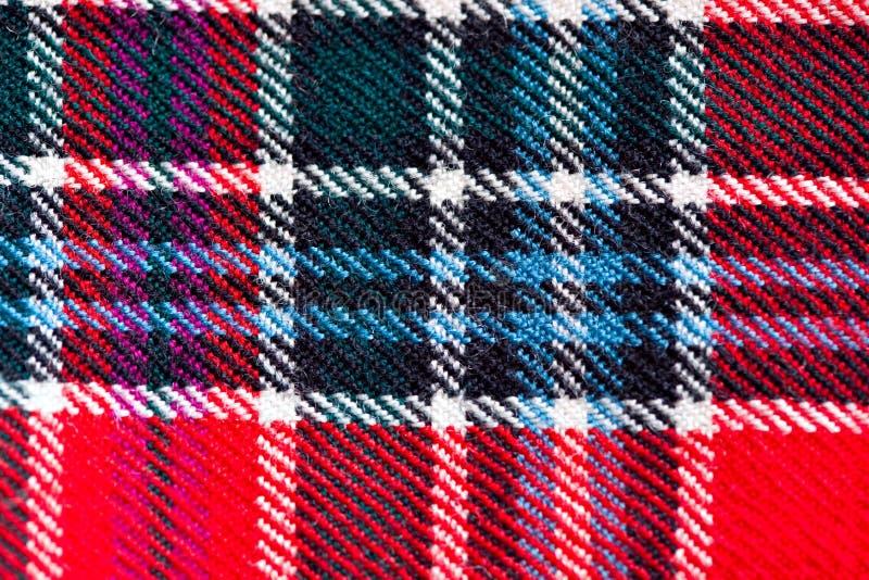 关闭传统苏格兰羊毛格子呢织品 库存图片