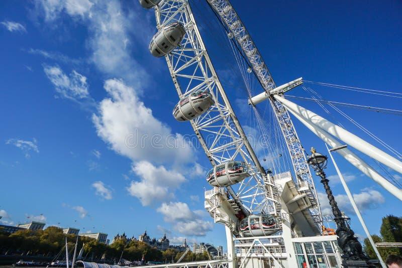 关闭伦敦眼伦敦弗累斯大转轮地标  库存照片