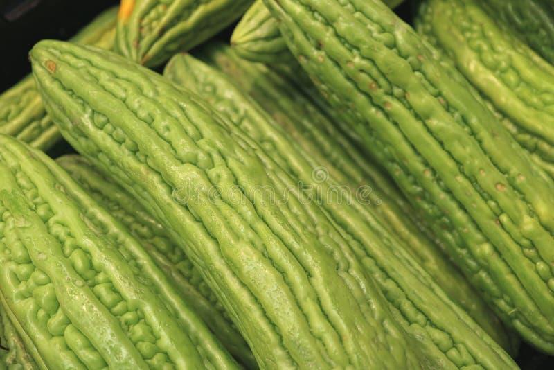关闭充满活力的绿色苦黄瓜、苦涩金瓜或者苦瓜堆  免版税库存照片