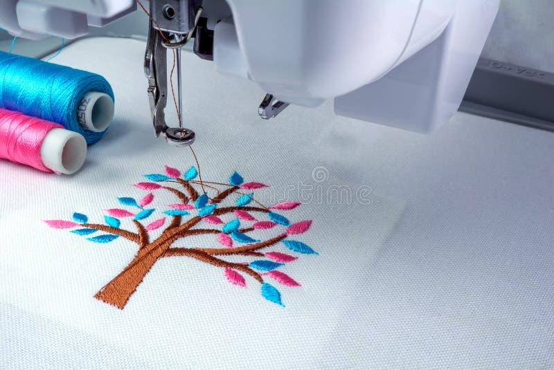关闭刺绣机器图片工作区  免版税库存图片