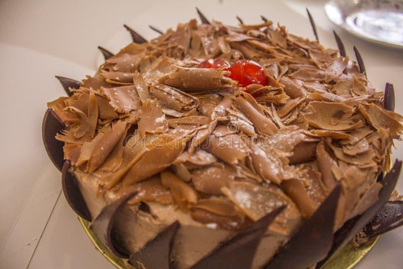 关闭可口生日蛋糕的射击 免版税库存照片