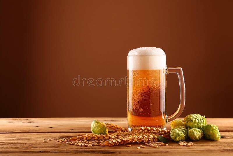 关闭啤酒杯、蛇麻草和大麦在褐色 免版税库存图片