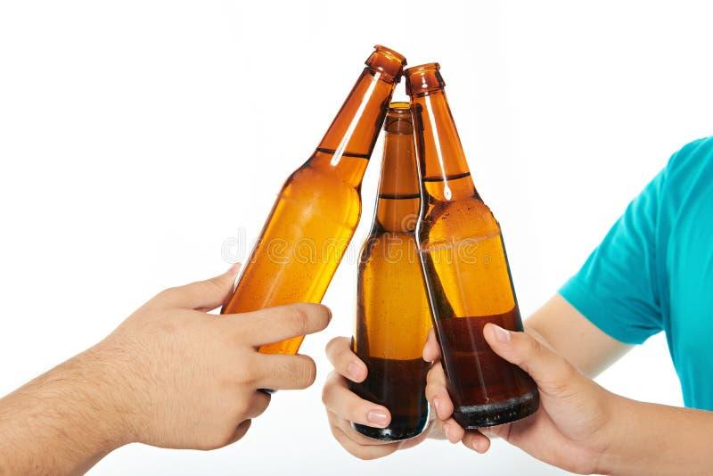 关闭啤酒瓶 免版税库存照片