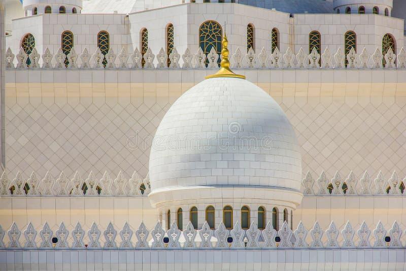 关闭回教族长扎耶德Mosque在阿布扎比,阿联酋 库存照片