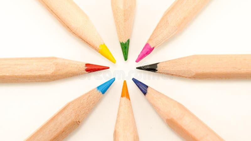 关闭在一个圈子的色的铅笔在白色背景 免版税库存照片
