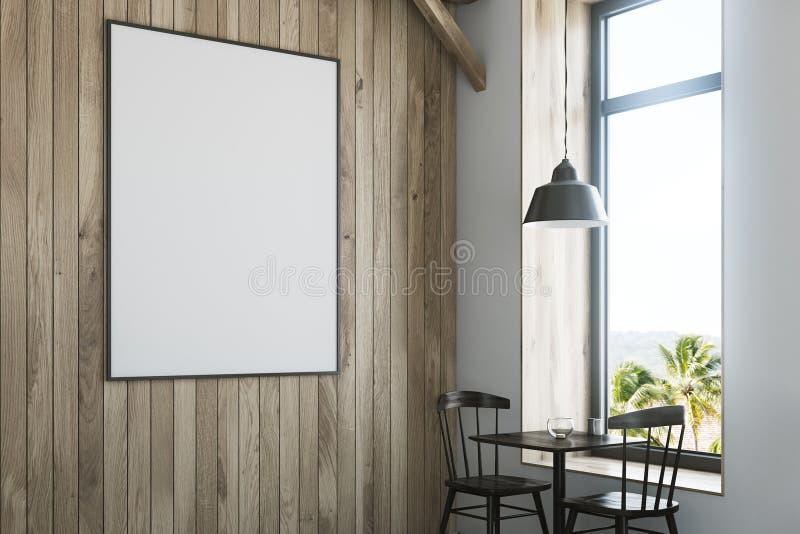 关闭在一个木咖啡馆的一张海报 库存例证