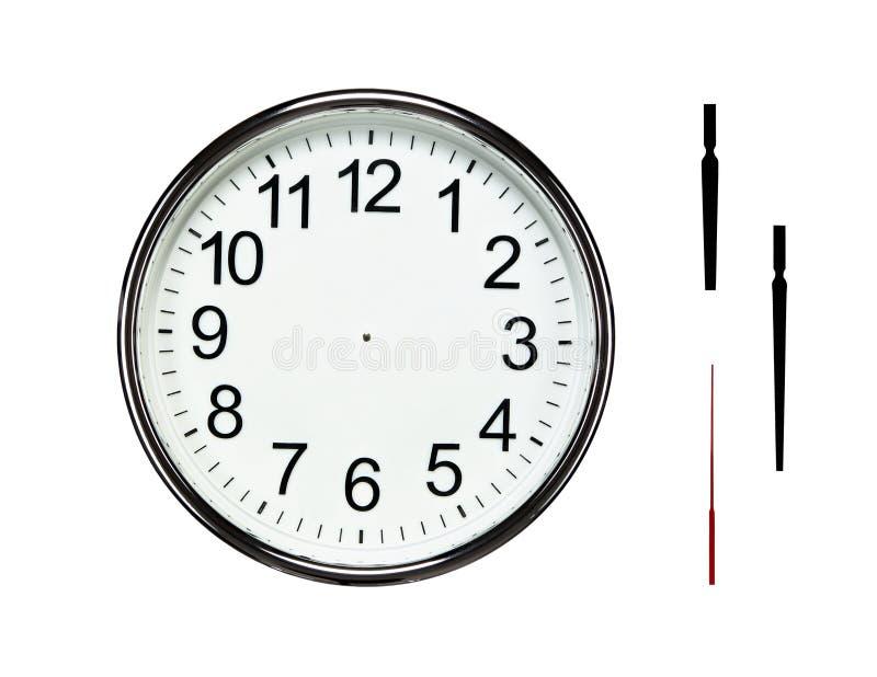 有裁减路线的空白的银色时钟 库存图片