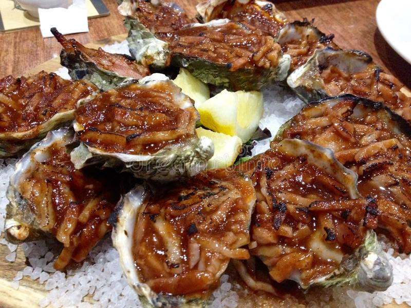 关闭在壳的十二只牡蛎Kilpatrick在床海盐 库存图片
