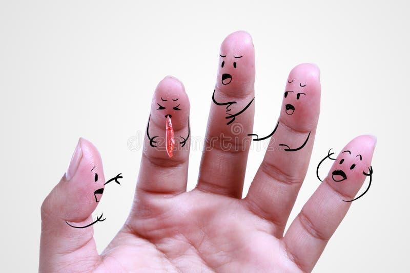 关闭在憔悴的人的手指 图库摄影