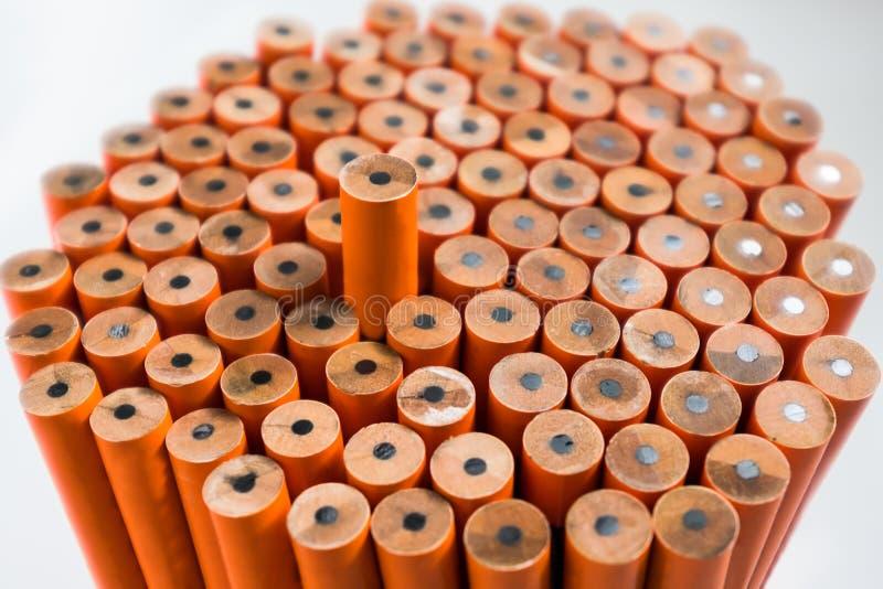 关闭在最高的unsharpened橙色铅笔,在w 库存图片