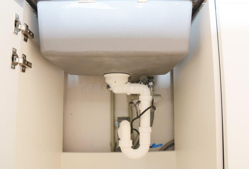 关闭在有落水管的tu陶瓷厨房水槽设施 库存图片