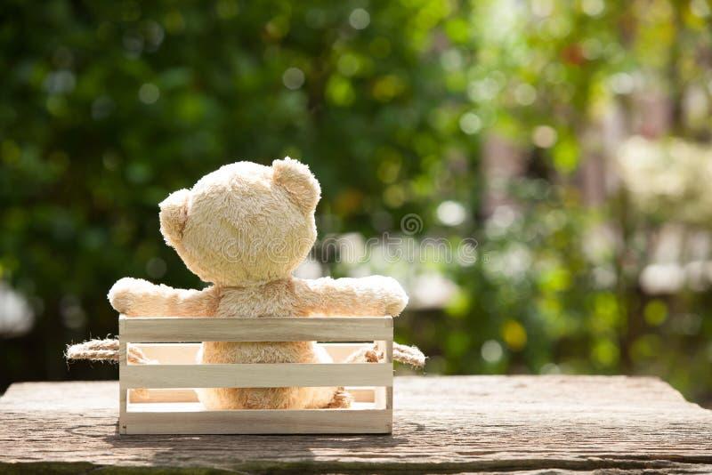 关闭在木箱,关于loneline的概念的可爱的玩具熊 免版税库存图片
