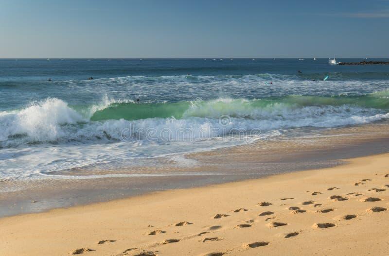 关闭在来的碎波支持在大西洋海岸, capbreton,法国沙滩  免版税库存图片