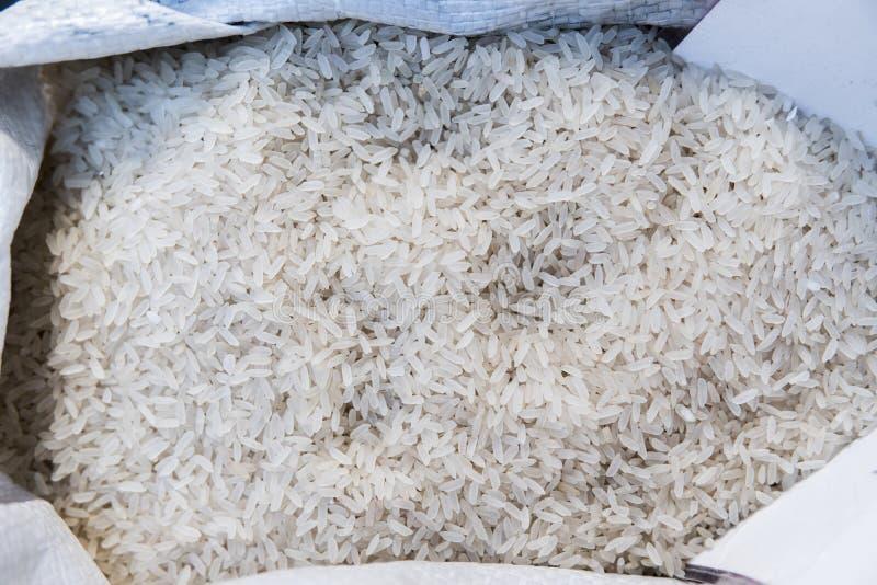 关闭在白米的宏指令在袋子 微型元件纤维素的健康饮食食物富有 vegeterian的食物和 库存图片