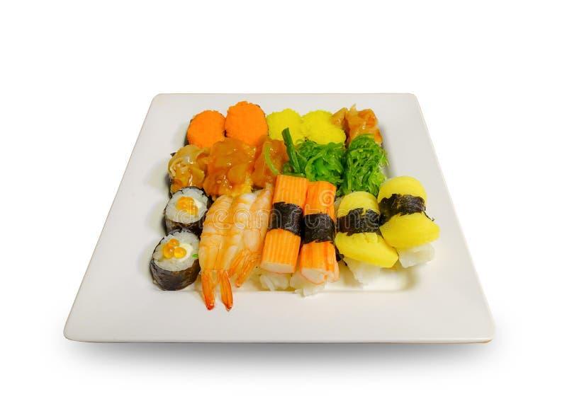 关闭在白色板材的寿司 免版税图库摄影