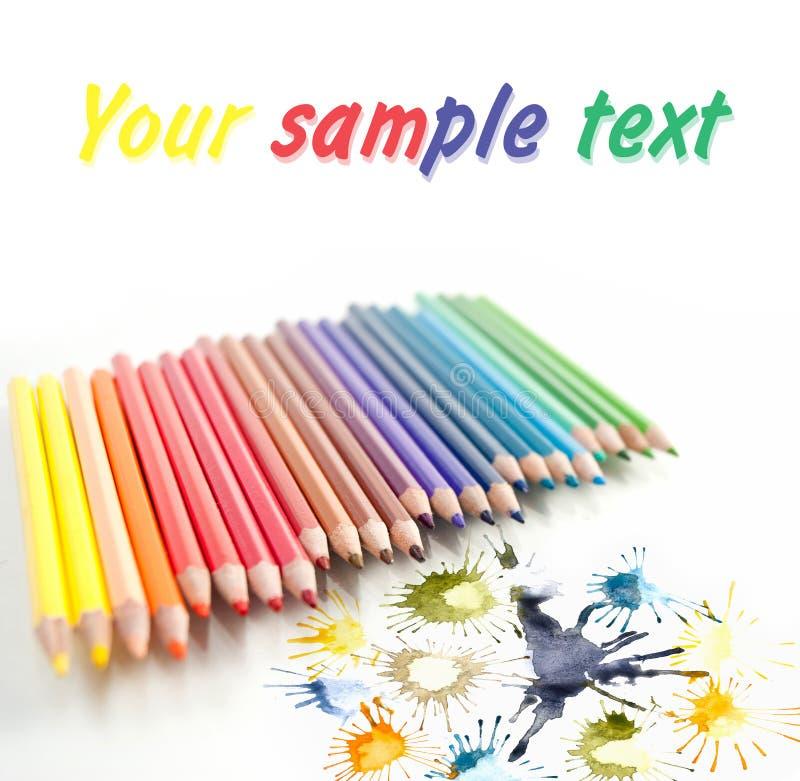 关闭在白色的颜色铅笔 库存图片
