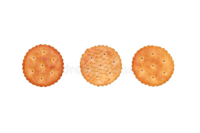关闭在白色背景的圆的薄脆饼干 库存图片