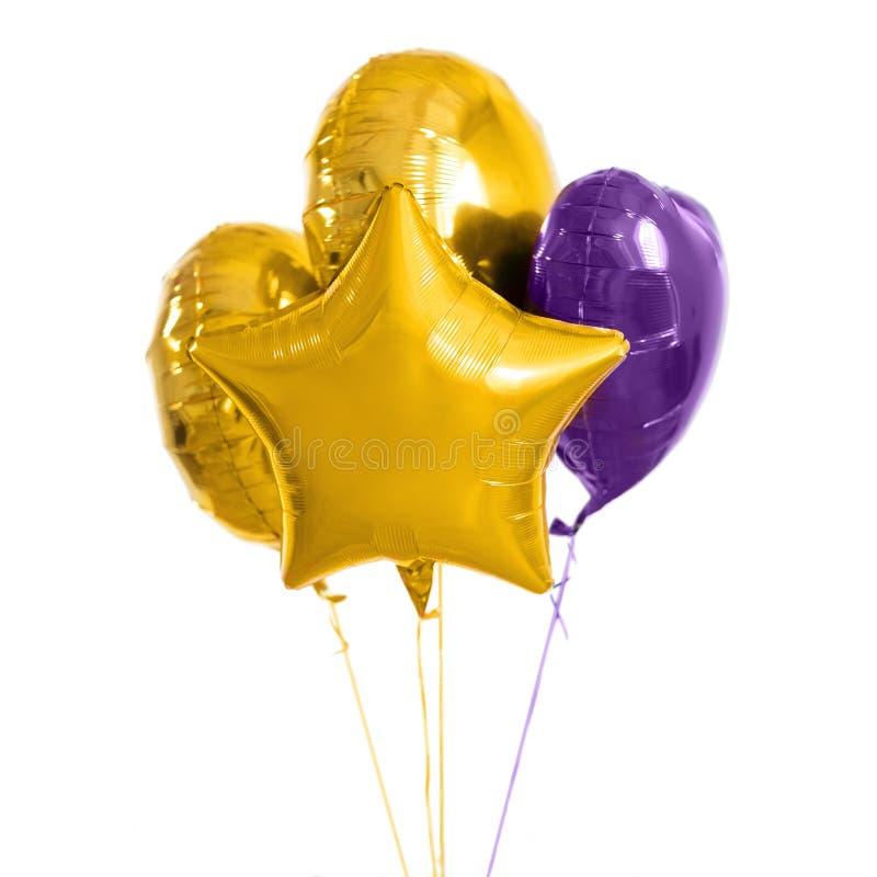 关闭在白色背景的氦气气球 免版税库存图片