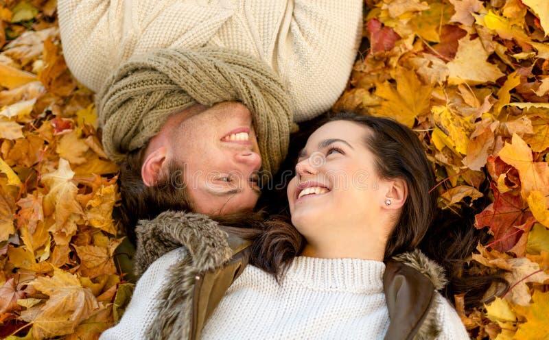 关闭在秋天公园的微笑的夫妇 免版税库存照片