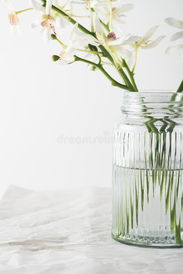 关闭在葡萄酒玻璃花瓶的兰花花 图库摄影