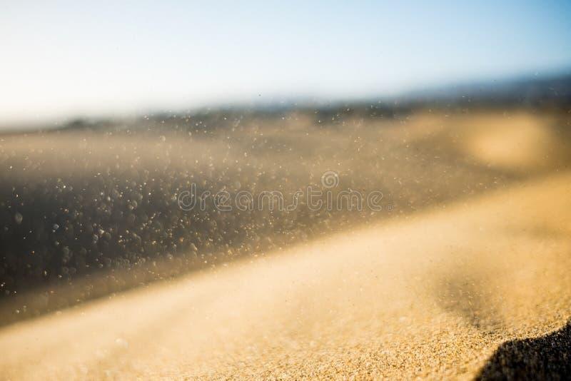 关闭在风的黄沙五谷在显示沙丘形成和侵蚀的地质作用沙漠风暴期间 免版税图库摄影