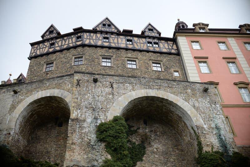 关闭在Ksiaz城堡侧面墙上 免版税图库摄影