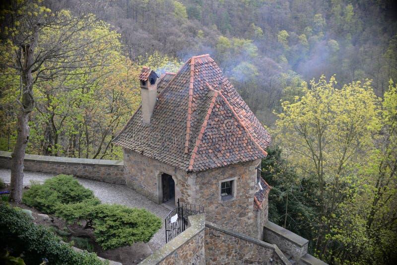 关闭在turrent在Ksiaz城堡 库存图片