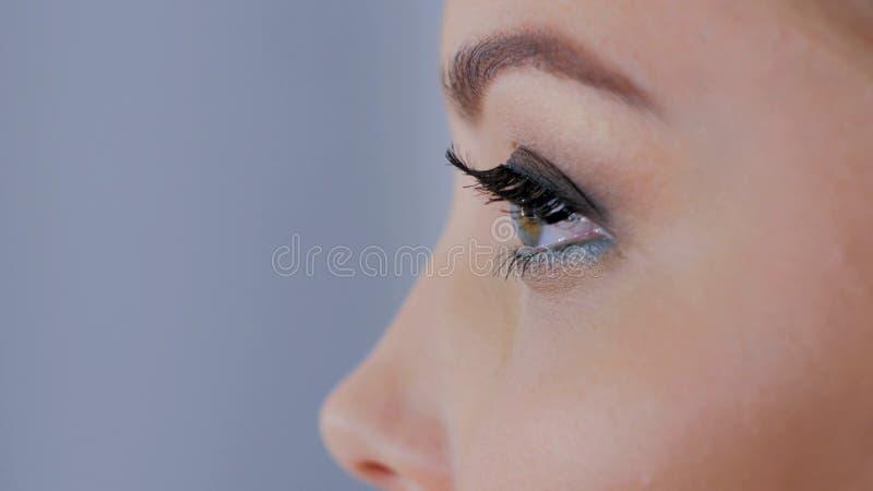 关闭妇女与专业构成的` s眼睛看法  库存图片