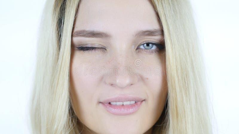 关闭妇女面孔,闪光眼睛 库存图片
