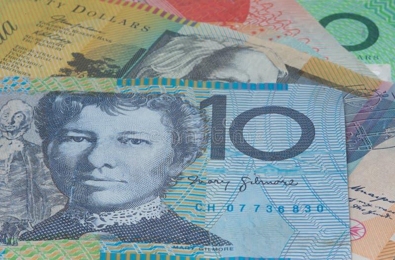 关闭宏观澳大利亚人笔记金钱 免版税库存图片