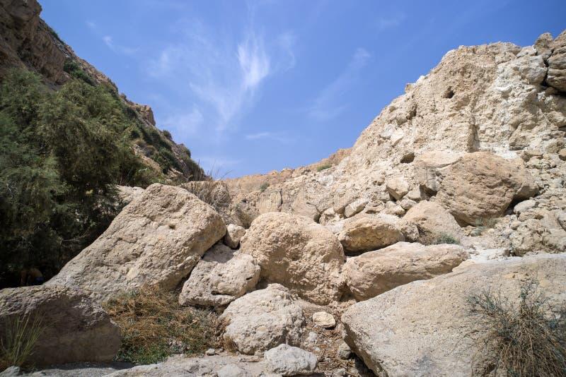 关闭小山和小山白色石灰石与贫瘠土壤的与绿色的 光秃的石头对greenary反对天空蔚蓝 ?? 免版税库存图片