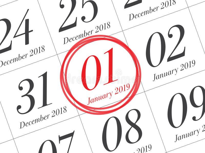 关闭年的第一天在日志日历的2019年 图库摄影