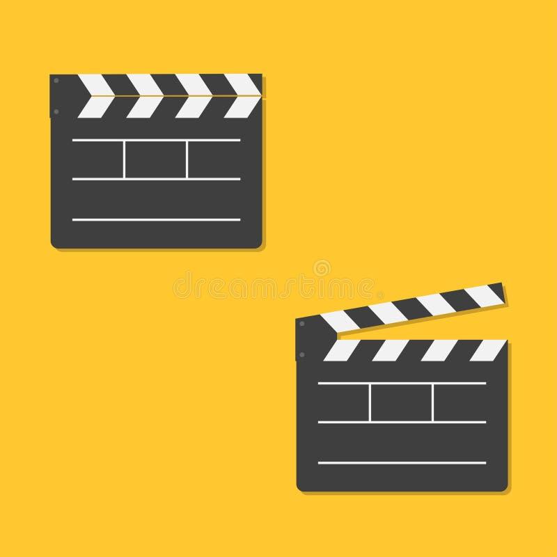 关闭并且打开电影拍板模板象 平的设计样式 库存例证