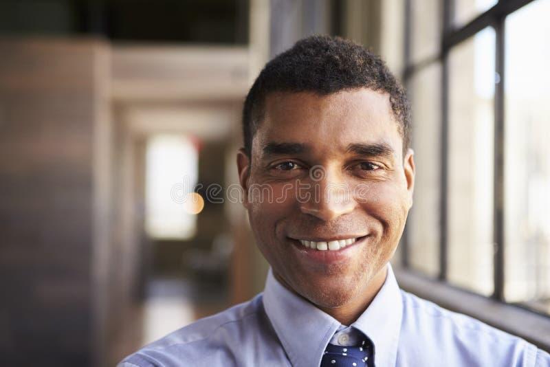 关闭微笑的混合的族种商人画象  免版税库存图片