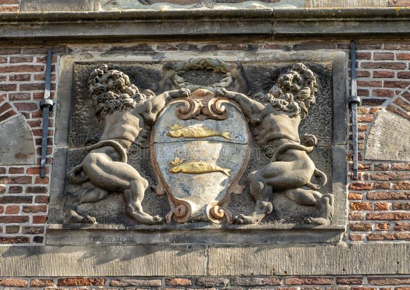 关闭徽章,De Rijp,荷兰城镇厅  免版税库存照片