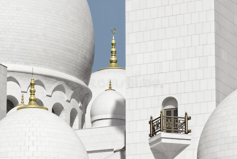 关闭扎耶德Grand Mosque,阿布扎比,阿拉伯联合酋长国回教族长的片段 库存图片