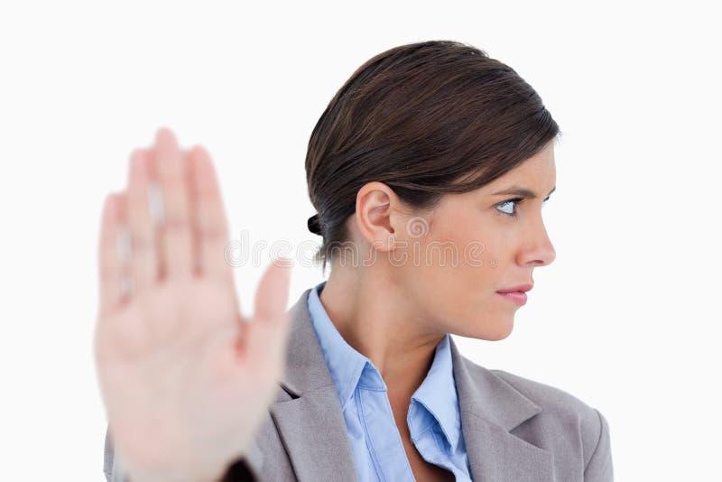 关闭拒绝的女性企业家 免版税库存照片