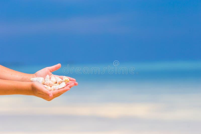关闭拿着美丽的海的小女孩手 库存照片