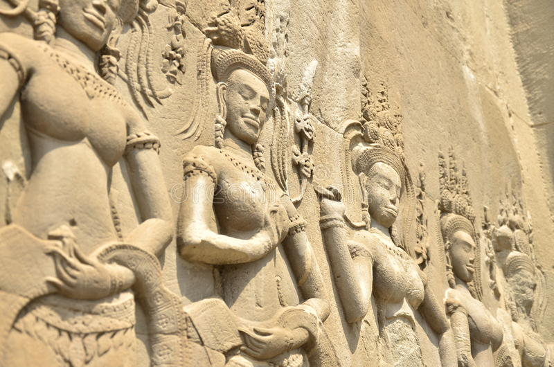 关闭描述寺庙墙壁吴哥窟 免版税库存照片