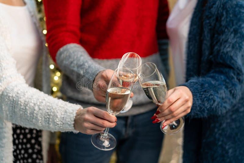 关闭敬酒与香槟fluters的小组朋友 免版税库存图片