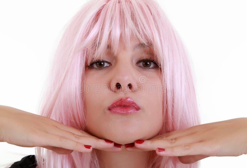 关闭有桃红色头发的少妇 图库摄影