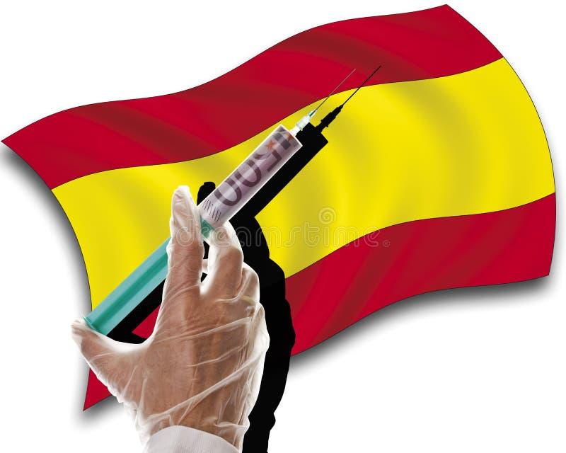 关闭有现金射入的人的手在西班牙旗子 图库摄影