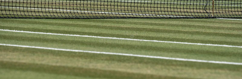 关闭有网的很好被修剪的草网球场在背景中在Wimbledon,伦敦英国 免版税库存照片