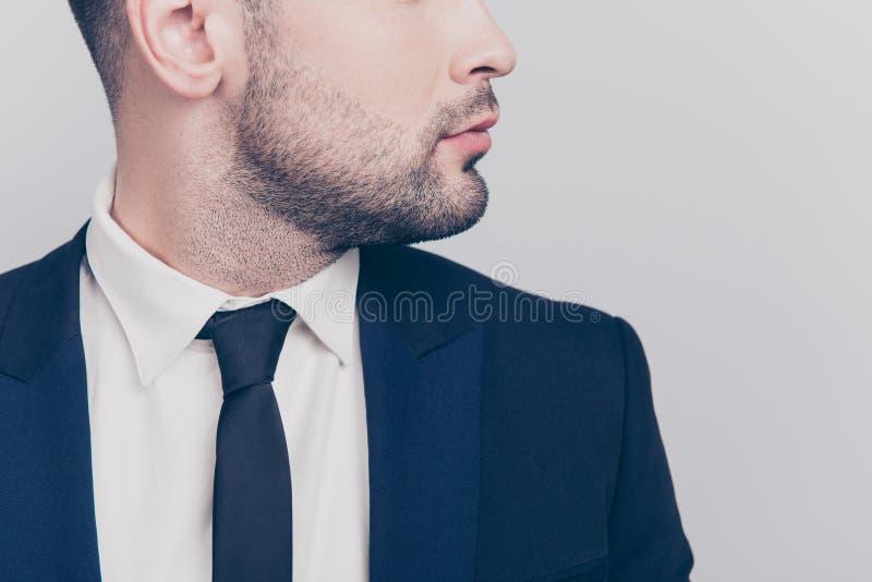 关闭有胡子的年轻主任外形半面孔画象我 免版税图库摄影
