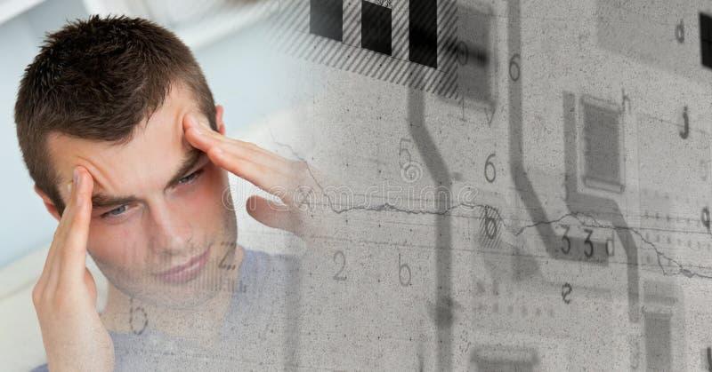 关闭沮丧的人和灰色难看的东西聪明的技术转折 免版税库存图片